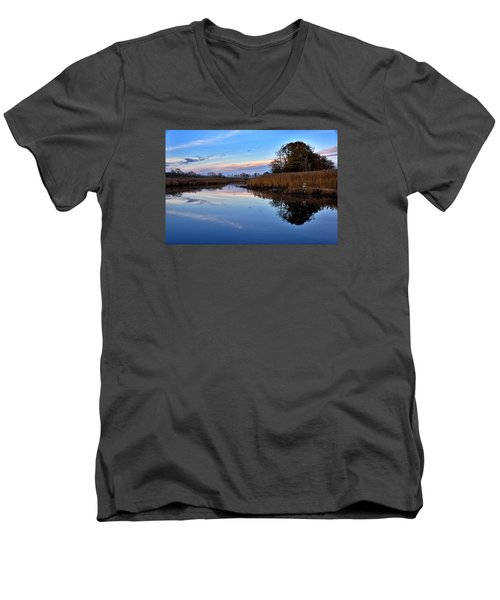 Men's V-Neck T-Shirt featuring the photograph Eastern Shore Sunset - Blackwater National Wildlife Refuge by Brendan Reals