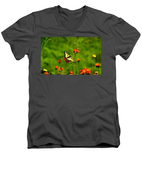 Eastern Tiger Swallowtail  Men's V-Neck T-Shirt by Debbie Oppermann