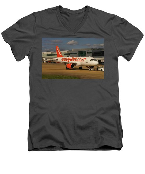 Men's V-Neck T-Shirt featuring the photograph Easyjet Airbus A319-111  by Tim Beach