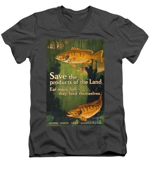 Eat More Fish Vintage World War I Poster Men's V-Neck T-Shirt by John Stephens