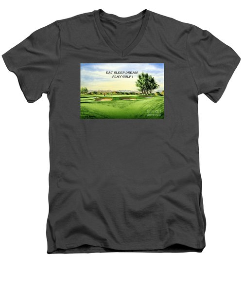 Men's V-Neck T-Shirt featuring the painting Eat Sleep Dream Play Golf - Carnoustie Golf Course by Bill Holkham
