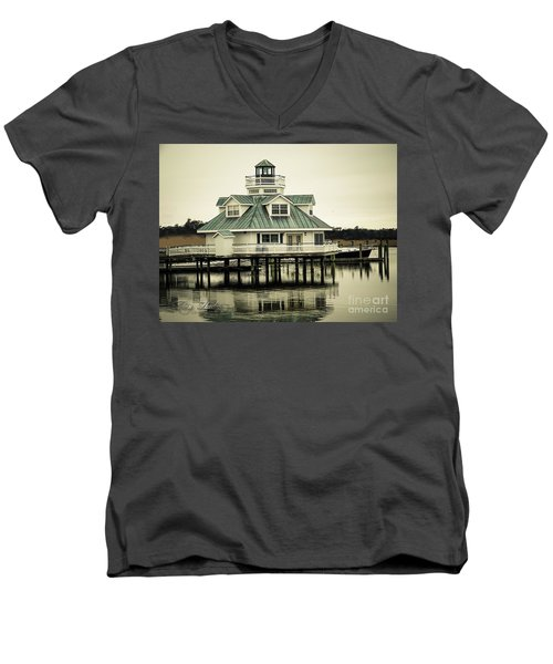 Eating On The River Men's V-Neck T-Shirt by Melissa Messick