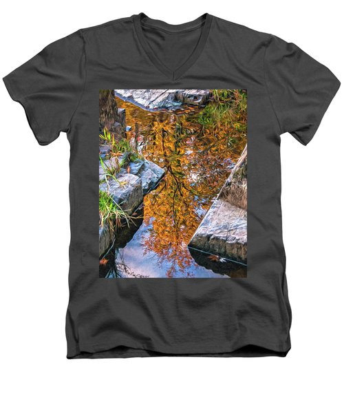 Men's V-Neck T-Shirt featuring the photograph Eau Claire Dells Fall Reflection by Trey Foerster