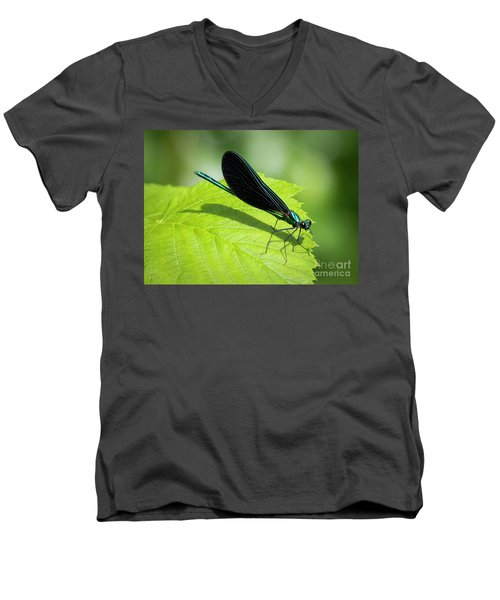 Men's V-Neck T-Shirt featuring the photograph Ebony Jewelwing by Ricky L Jones
