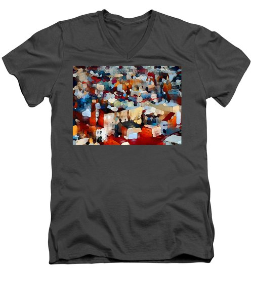 Men's V-Neck T-Shirt featuring the digital art Echoes Of Civilization  by Shelli Fitzpatrick