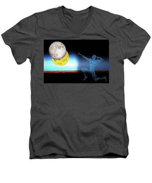 Men's V-Neck T-Shirt featuring the digital art Eclipse 2017 by John Haldane
