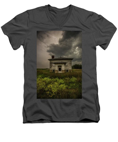 Men's V-Neck T-Shirt featuring the photograph Eclipse Apocalypse by Aaron J Groen