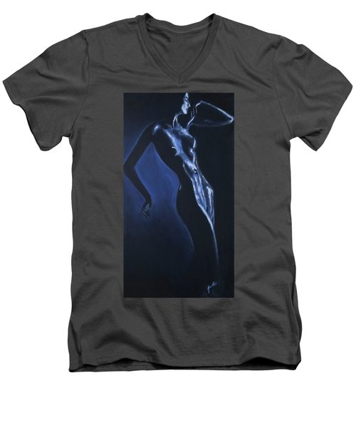 Men's V-Neck T-Shirt featuring the painting Eclipse by Jarko Aka Lui Grande