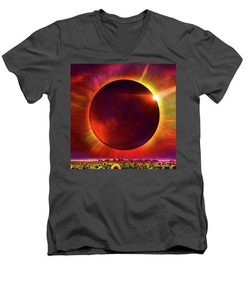 Eclipse Of The Sunflower Men's V-Neck T-Shirt