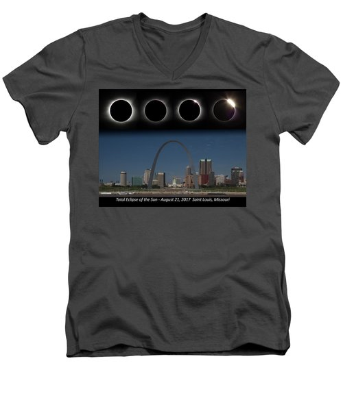 Eclipse - St Louis Skyline Men's V-Neck T-Shirt