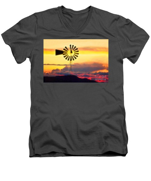 Eclipse Windmill In The Sunset Clouds Men's V-Neck T-Shirt by Wernher Krutein