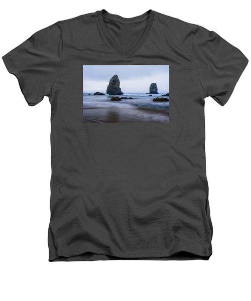 Ecola Beach Men's V-Neck T-Shirt by John Gilbert