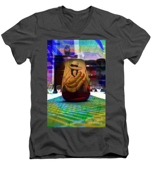 Men's V-Neck T-Shirt featuring the photograph Ecuadorian Vase Art by Al Bourassa