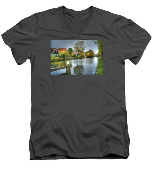 Edam Waterway In Holland Men's V-Neck T-Shirt