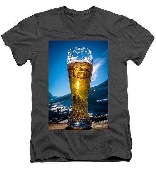 Men's V-Neck T-Shirt featuring the photograph Edelweiss Beer In Kirchberg Austria by John Wadleigh