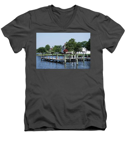 Edenton Waterfront Men's V-Neck T-Shirt by Gordon Mooneyhan