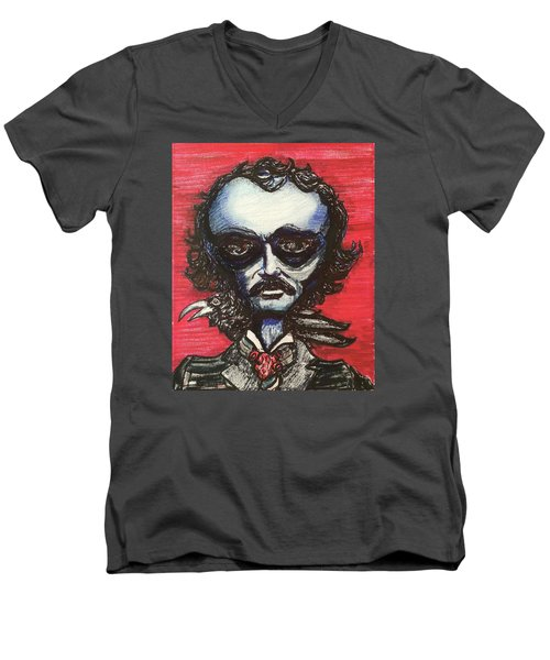 Men's V-Neck T-Shirt featuring the painting Edgar Alien Poe by Similar Alien