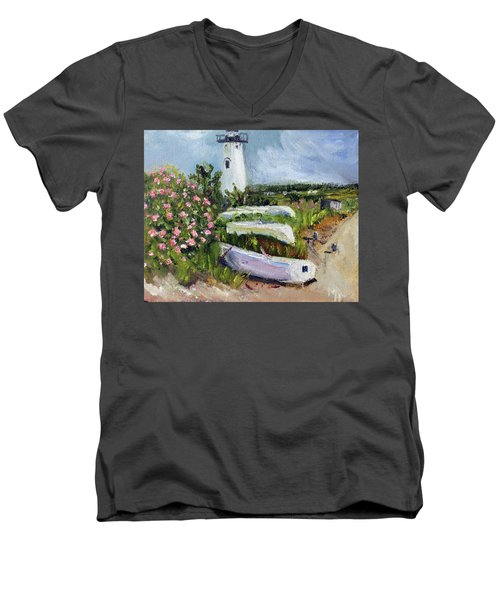 Edgartown Light And Her Entourage Men's V-Neck T-Shirt by Michael Helfen