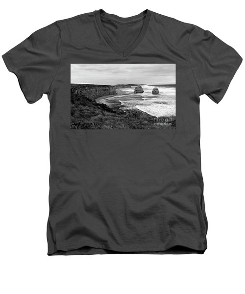 Edge Of A Continent Bw Men's V-Neck T-Shirt