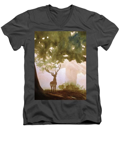 Men's V-Neck T-Shirt featuring the painting Edge Of The Forrest by Marilyn Jacobson