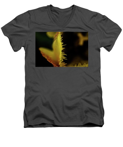 Men's V-Neck T-Shirt featuring the photograph Edge Of The Tulip by Jay Stockhaus