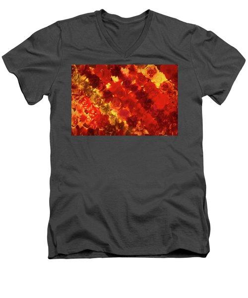 Edgy Flowers Through Glass Men's V-Neck T-Shirt