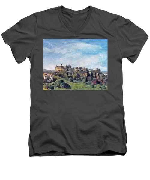 Men's V-Neck T-Shirt featuring the painting Edinburgh Castle Bright by Richard James Digance
