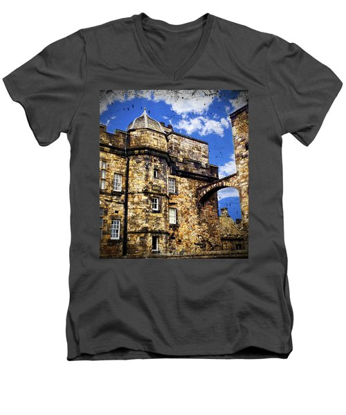 Edinburgh Castle Men's V-Neck T-Shirt by Judi Saunders