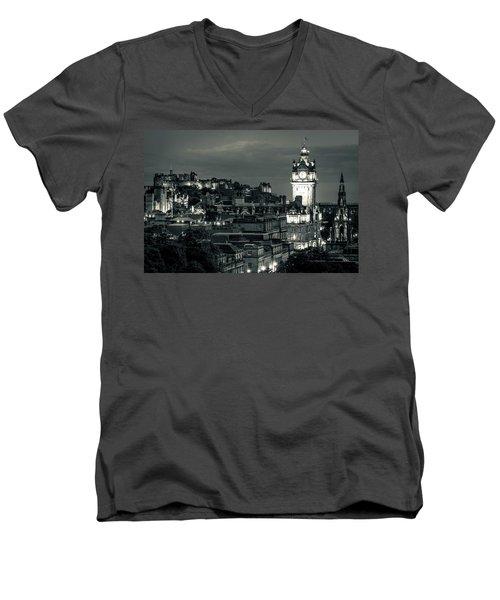Edinburgh In Black And White Men's V-Neck T-Shirt