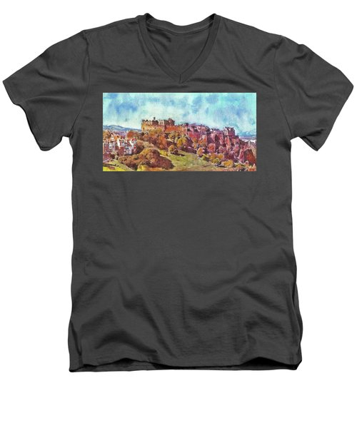 Men's V-Neck T-Shirt featuring the painting Edinburgh Skyline No 1 by Richard James Digance