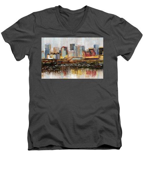 Edmonton Skyline Abstract1 Men's V-Neck T-Shirt