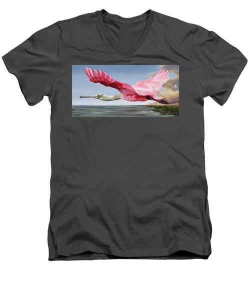 Edwin's Roseate Spoonbill Men's V-Neck T-Shirt