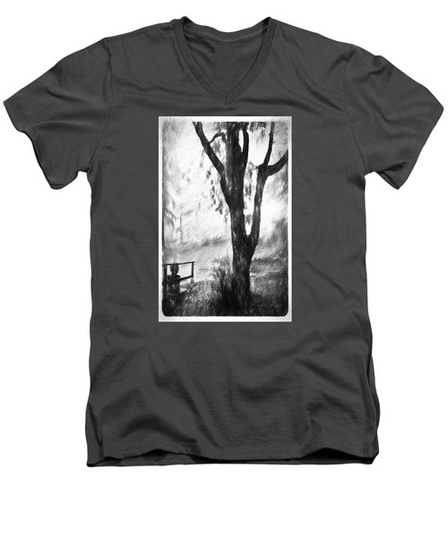 Tree In The Mist Men's V-Neck T-Shirt by Rena Trepanier