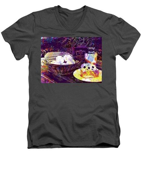 Men's V-Neck T-Shirt featuring the digital art Egg Milk Butter Out Garden Herbs  by PixBreak Art