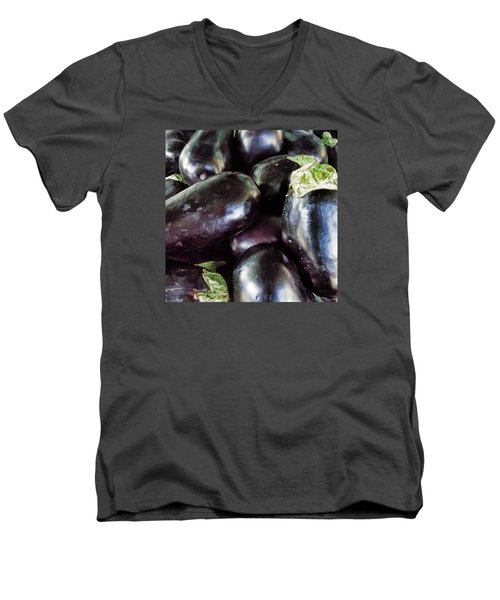 Men's V-Neck T-Shirt featuring the photograph Eggplant by Lewis Mann