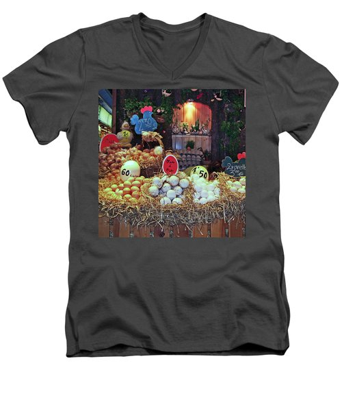 Men's V-Neck T-Shirt featuring the photograph Eggs In Market by Haleh Mahbod