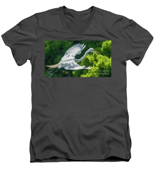 Egret Flying With Twigs Men's V-Neck T-Shirt
