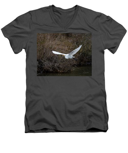 Men's V-Neck T-Shirt featuring the photograph Egret In Flight by George Randy Bass