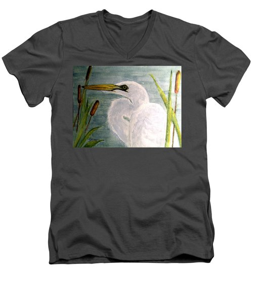 Men's V-Neck T-Shirt featuring the painting Egret In The Cattails by Carol Grimes