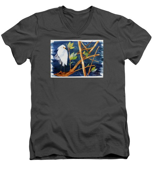 Men's V-Neck T-Shirt featuring the painting Egret In The Mangroves  by Terri Mills