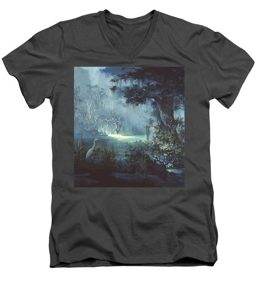 Egret In The Shadows Men's V-Neck T-Shirt by Michael Humphries