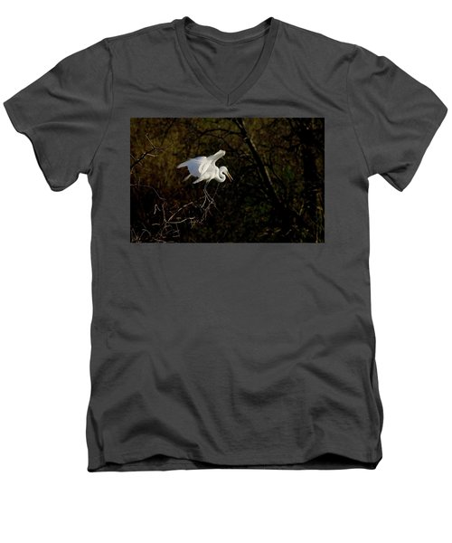 Men's V-Neck T-Shirt featuring the photograph Egret by Kelly Marquardt