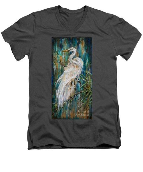 Egret Near Waterfall Men's V-Neck T-Shirt