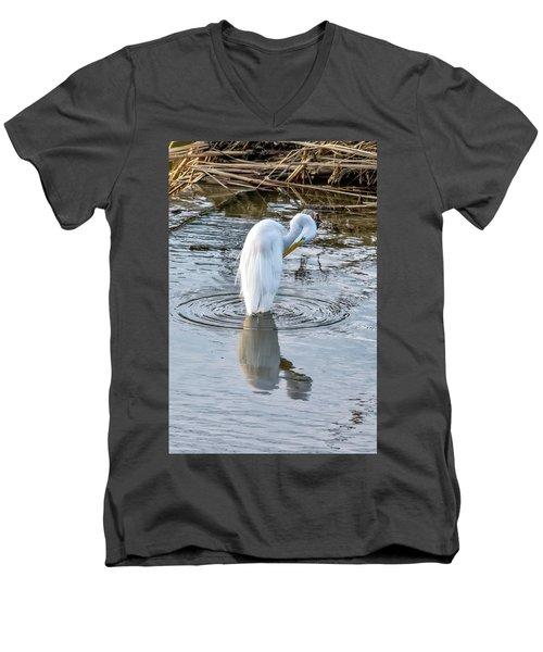 Egret Standing In A Stream Preening Men's V-Neck T-Shirt