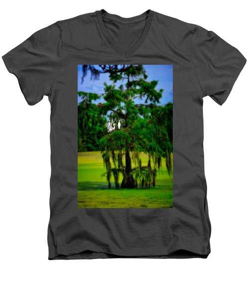 Egret Tree Men's V-Neck T-Shirt