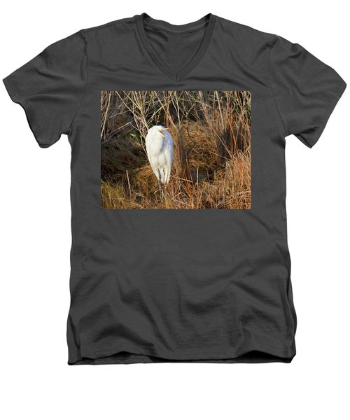 Men's V-Neck T-Shirt featuring the photograph Egret With Something To Say by George Randy Bass