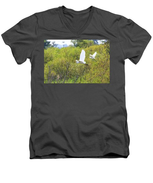 Men's V-Neck T-Shirt featuring the photograph Egrets In Flight by Jennifer Casey