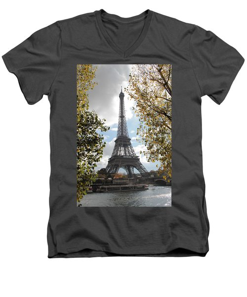Men's V-Neck T-Shirt featuring the photograph Eiffel From Avenue De New York by Christopher Kirby