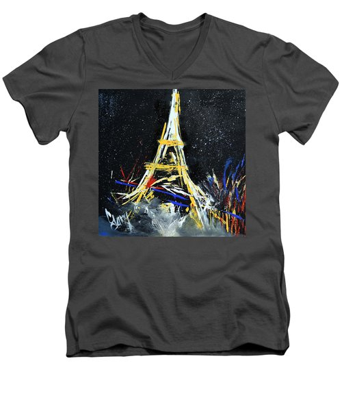 Men's V-Neck T-Shirt featuring the painting Eiffel by Gary Smith