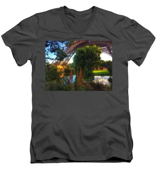 Men's V-Neck T-Shirt featuring the photograph Eiffel by Marty Cobcroft